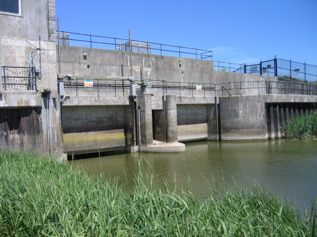 Image showing a coastal defence structure with two sluice gates